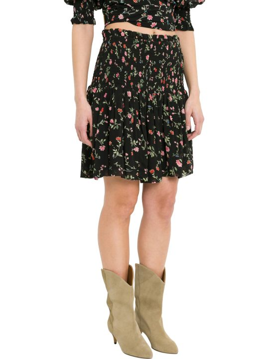 Ganni Elm Mini Skirt With Floral Motif And Smock