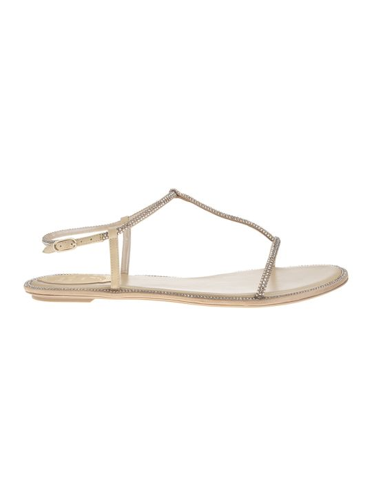 "René Caovilla Beige ""amalia"" Flat Sandals"