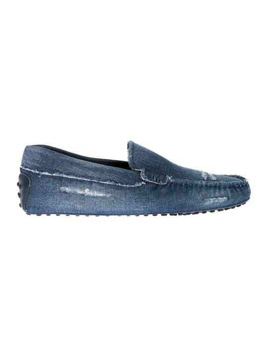 Tod's Distressed Denim Loafers