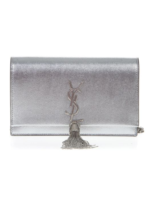 Saint Laurent Silver Calfskin Kate Wallet