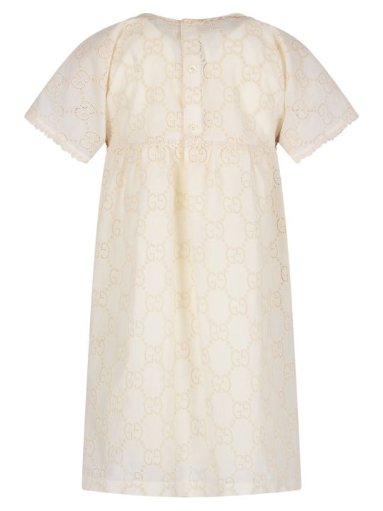 Gucci Ivory Girl Dress With Double Gg