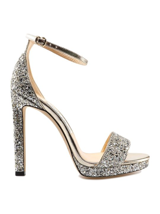 Jimmy Choo Glitter Fabric Sandal