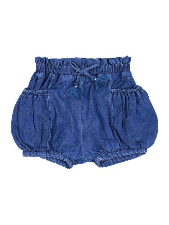 Chloé Blue Cotton Drawstring Denim Shorts