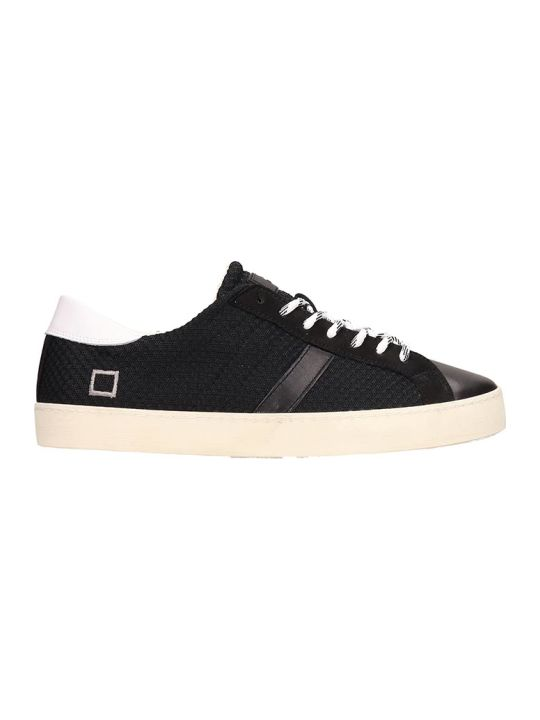 D.A.T.E. Black Leather Hill Low Sneakers