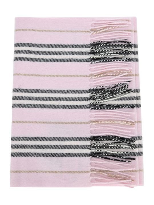 Burberry London Icon Striped Pattern Cashmere Scarf