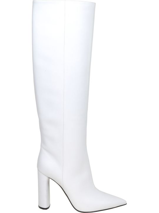 Casadei Agyness Boot In White Color Leather