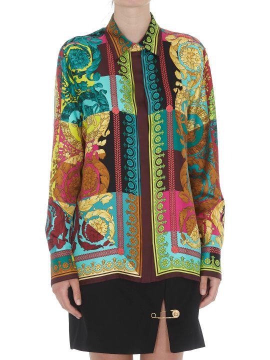 Versace Voyage Barocco Print Silk Shirt