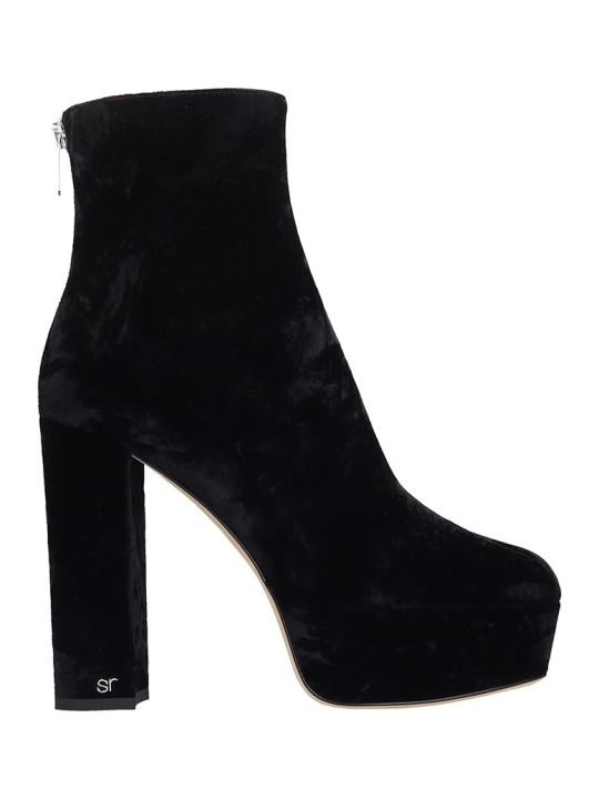 Sergio Rossi Monica 85 Ankle Boots In Black Velvet