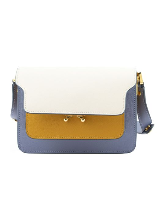 Marni Trunk Minibag In Saffiano Leather Natur White Yellow And Pale Blue
