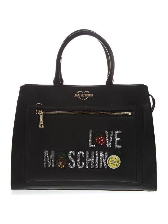 Love Moschino Black Embellished Faux Leather Tote Bag