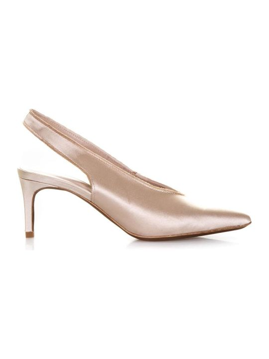 Lola Cruz Amapola Gold Satin Pumps