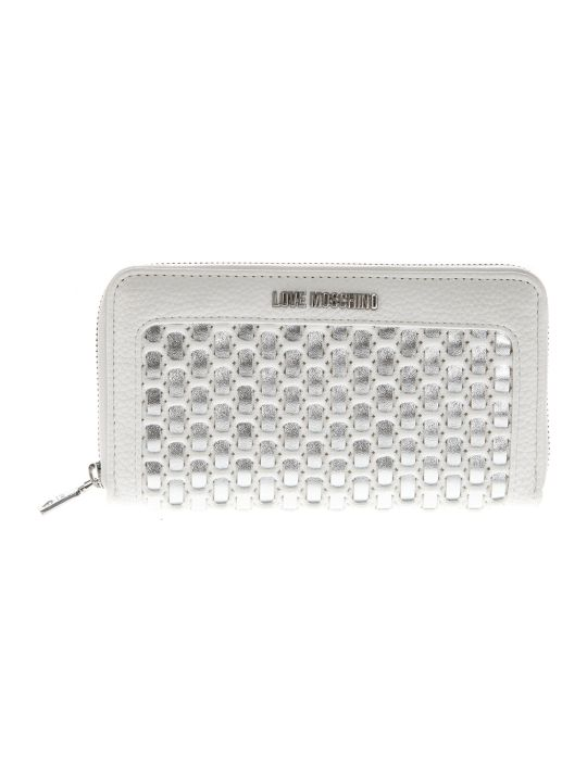Love Moschino Zip Around Wallet In White And Silver Eco Leather