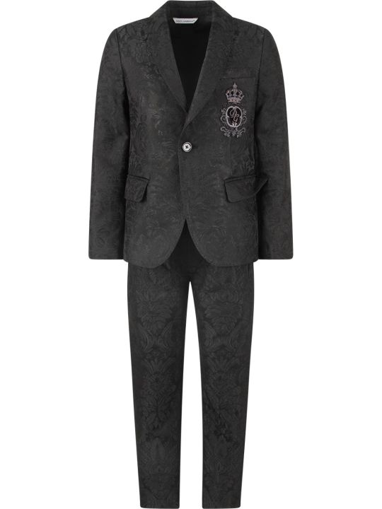 Dolce & Gabbana Black Boy Suit With Grey Logo