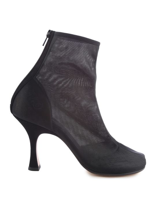 MM6 Maison Margiela Logo-print Suede And Mesh Ankle Boots