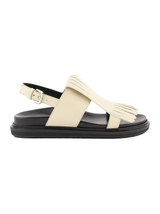 Marni Fringed Fussbett Sandals Silk White