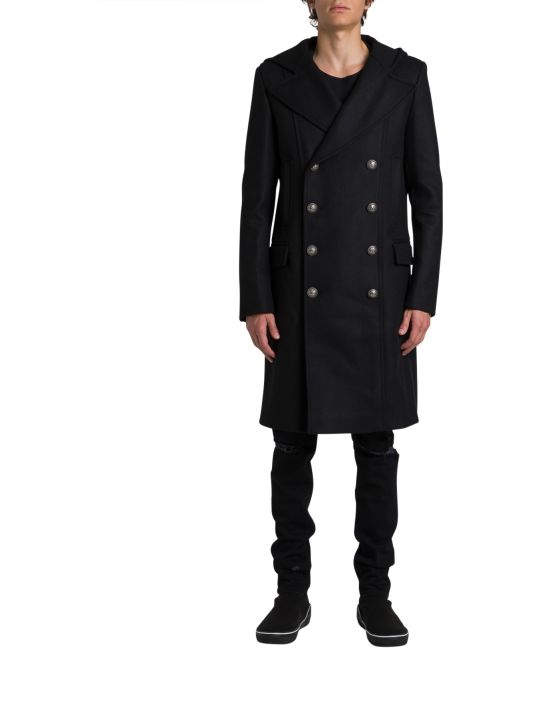 Balmain Double Breasted Coat With Hood