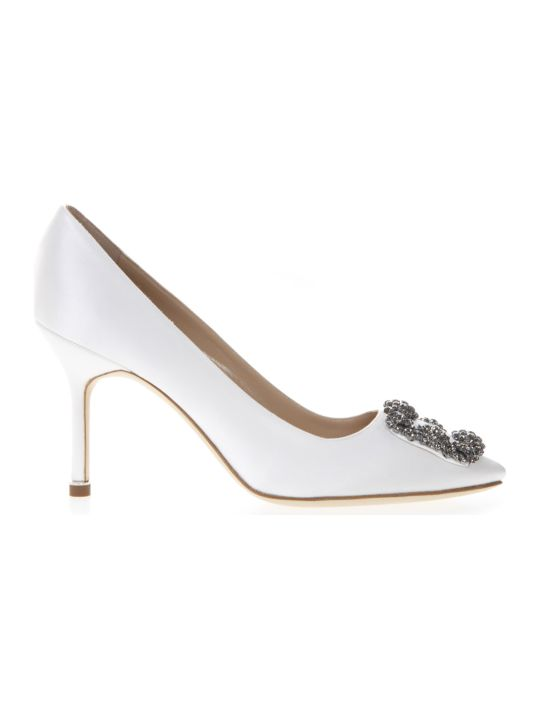 Manolo Blahnik Hangisi White Satin Pumps