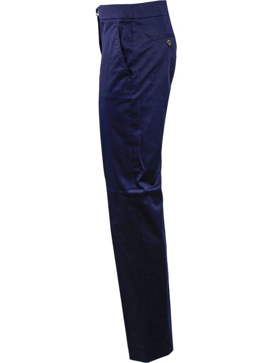Fay Blue Cotton Mid-rise Trousers