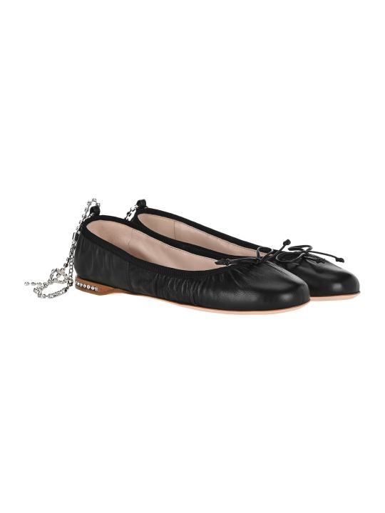 Miu Miu Embellished Strap Ballerina Shoes