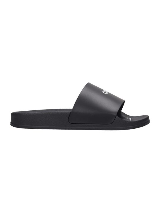 Off-White Pool Slider Flats In Black Rubber/plasic