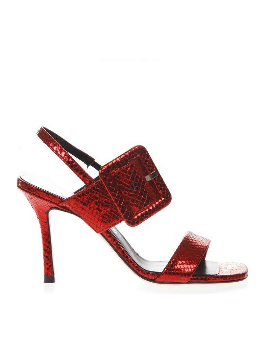 Marc Ellis Red Sandals In Snake Effect Leather