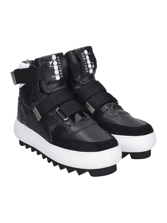 Diadora Basket Cyberpun Sneakers In Black Leather