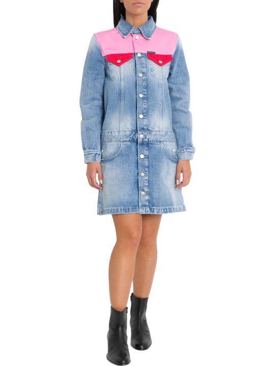 Calvin Klein Jeans Color Block Denim Pinafore Dress
