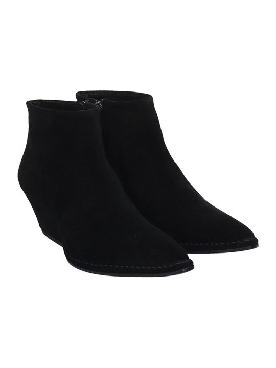 Del Carlo Texan Ankle Boots In Black Suede