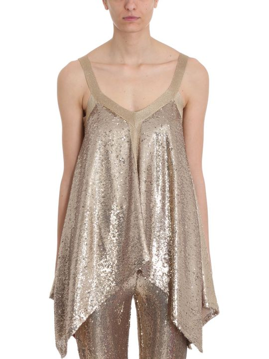 L'Autre Chose Gold Sequins Foulard Top