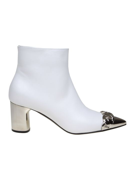 Casadei Agyness Leather Ankle Boot In White Color