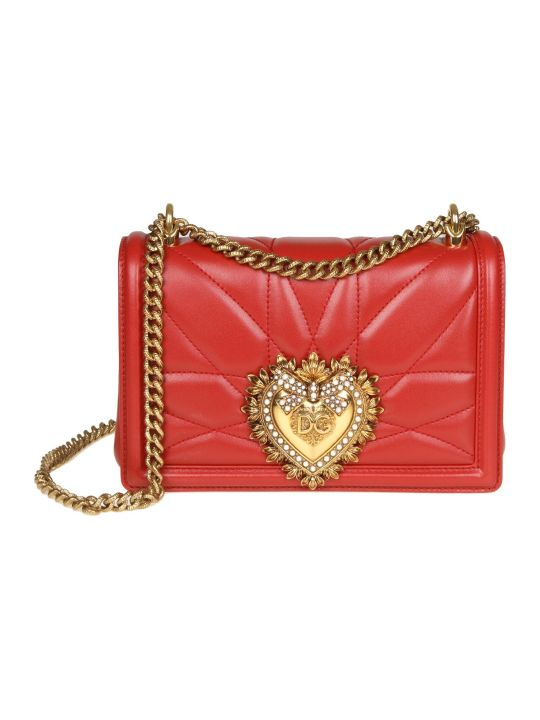 Dolce & Gabbana Medium Devotion Bag In Nappa Matelassé Color Red