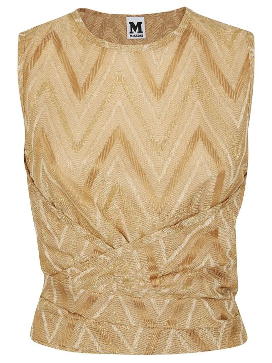 M Missoni Chevron Pattern Ruched Top
