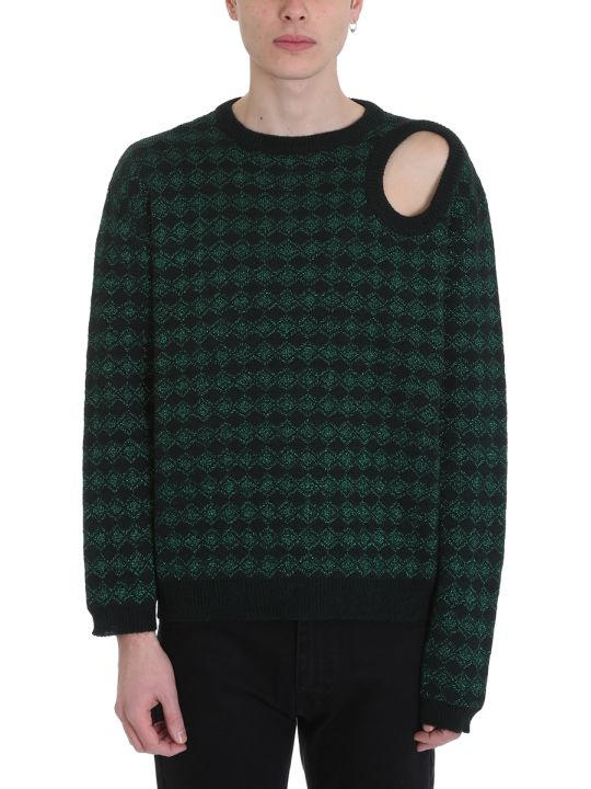Raf Simons Jacquard Green/black Glitter Wool Sweater