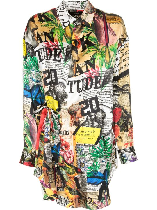 Dsquared2 Mixed Print Shirt Dress