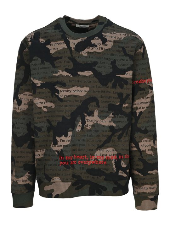 Valentino Camouflage Poetry Print Sweatshirt