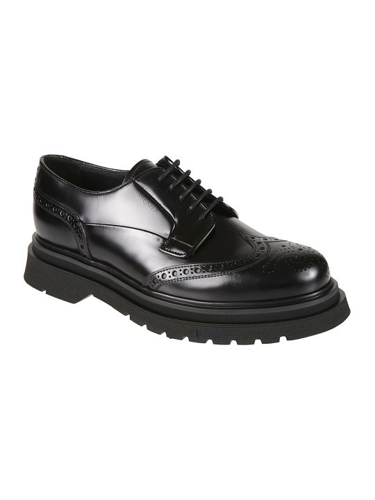 Prada Embossed Logo Perforated Derby Shoes