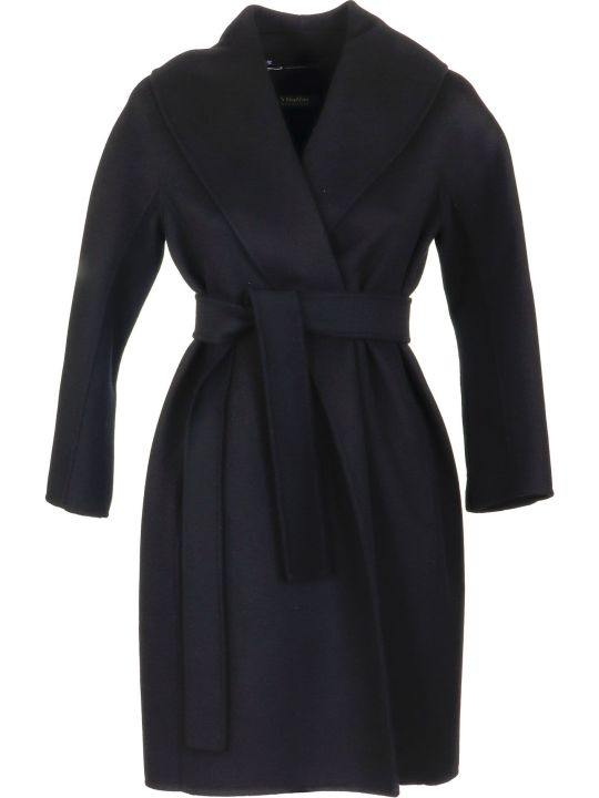 Max Mara The Cube Messi Black Wool Coat