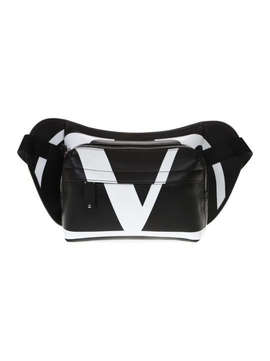 Valentino Garavani V Logo Belt Bag In Black And White Leather