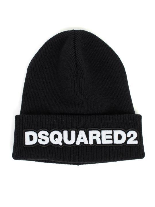 Dsquared2 Knit Hat Wool W/patch