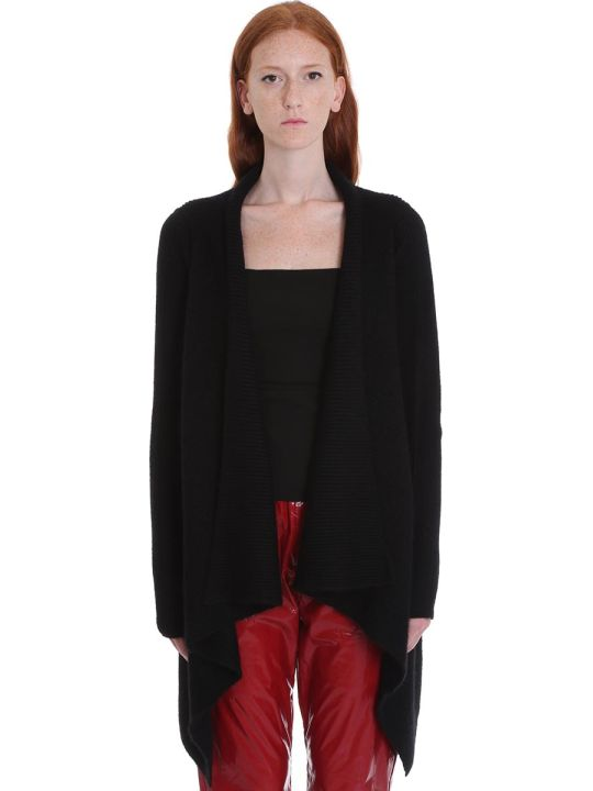Rick Owens Fishermann Cardigan In Black Wool