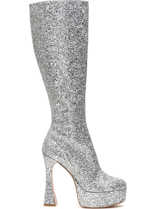 Amina Muaddi Glitter Farah Boots