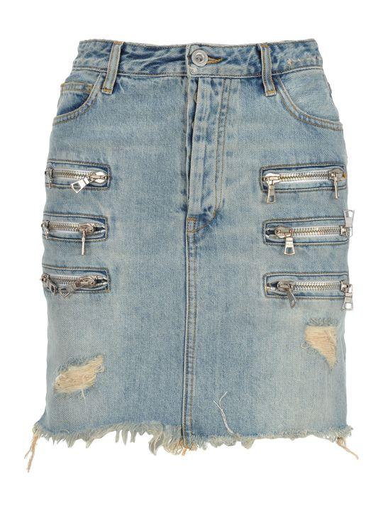 Ben Taverniti Unravel Project Unravel Bleach Denim Triple Zip Skirt