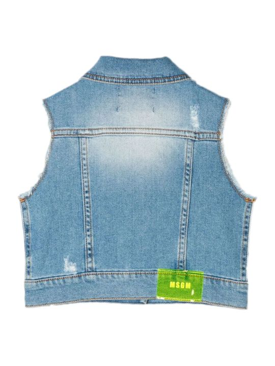 MSGM Blue Stretch Cotton Denim Gilet