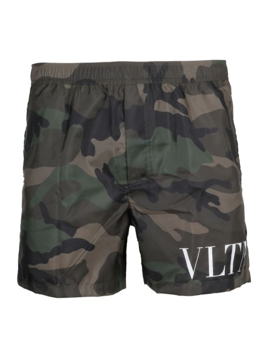 Valentino Camo Print Swim Shorts