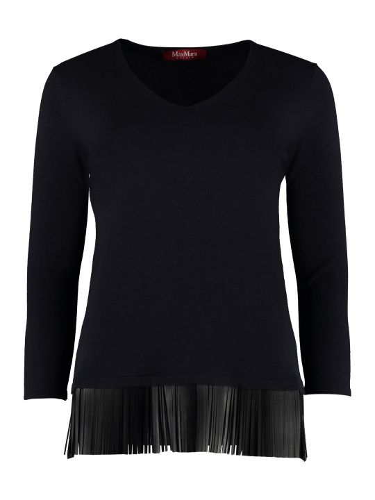 Max Mara Studio Polder Leather Fringes Knit Sweater