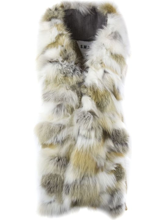 S.W.O.R.D 6.6.44 Gold-tone Fox Fur Knitted Gilet
