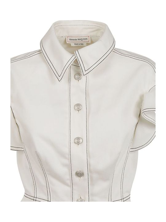 Alexander McQueen Woven Ruffled Sleeve Jacket