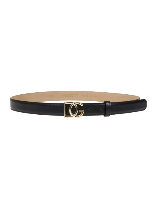 Dolce & Gabbana Calfskin Belt With Metal Cross Logo Dg