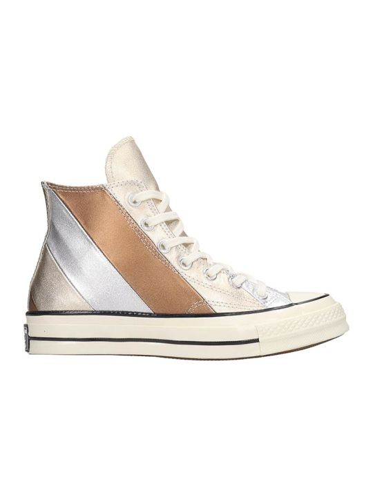 Converse Chack Taylor Sneakers In Silver Leather