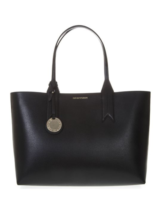Emporio Armani Black Shopper In Faux Leather With Logo Charm